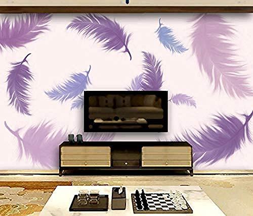 Carta da parati 3D Murales Acquerello dipinto a mano Piuma viola Soggiorno Camera da letto Tv Sfondo Decorazione murale Art foto immagine poster -300×210cm(LxA)