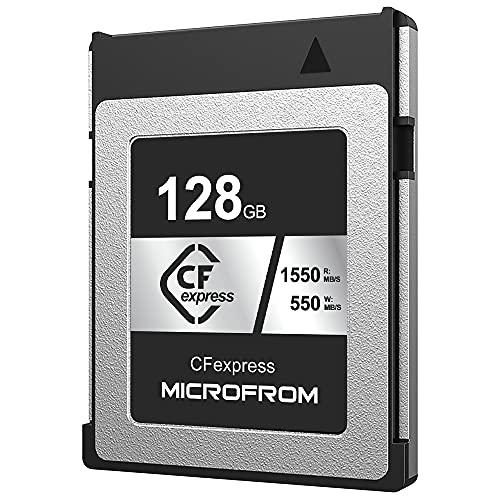 Microfrom CFexpress - Tarjeta de memoria digital tipo B (128 GB, 1550/550 R/W) optimizada para grabaciones RAW 8K, se empareja con cámaras réflex Nikon, Panasonic y Canon compatibles
