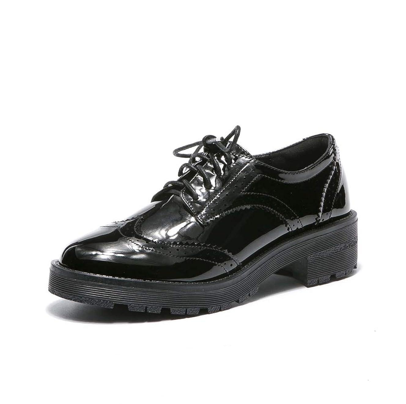 敬意を表するどうしたの少年[THLD] 高反発クッション おじ靴 レディース エナメル レースアップ オックスフォード ローファー 学生 女子 ラウンドトゥ靴 ローヒールパンプス 歩きやすい 黒 マニッシュシューズ レディース 厚底 カジュアルシューズ ハンサムシューズ