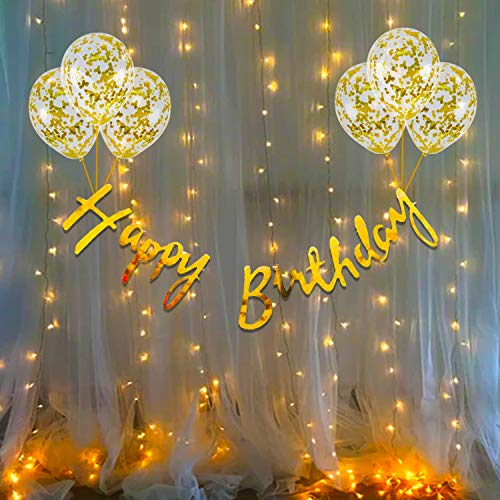 Party Propz Birthday Decoration Items Kit- 10Pcs Bday Banner Confetti Balloon with Led Light for Kids, Husband Girls, Boys Bday Decorations Items with Fairy Lights