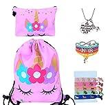 Unicorn Gifts for Girls - Unicorn Drawstring Backpack/Makeup Bag/Bracelet/Inspirational Necklace/Hair Ties (Pink Star Unicorn)