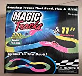 kemxi Magic Track Race Track 240 Pieza + 2Cars Dark Racer Bend Flex Roll Glow con Carro y Carro (Rojo, 24+2Cars)