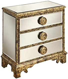Treasure Trove 32155 36 by 18 by 36-Inch 3-Drawer Mirrored Chest, Antique White and Gold