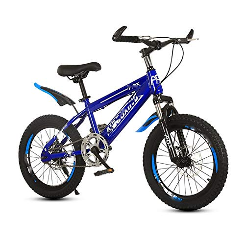 LJHSS Children's Mountain Bike Single Speed Front And Rear Disc Brake Aluminum Alloy Knife Ring Bike, 18/20 Inch Male And Female Student Bike, Suitable For Short Trips (Color : Blue, Size : 20 inch)