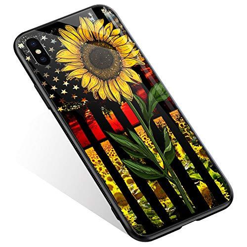 Juicy Case/Schutzhülle für LG G4, mit magnetischer Auto-Halterung, Klapp-Cover, magnetische Brieftasche, Smart View, unterstützt NFC, Freisprechfunktion, iPhone XS Max, Sunflower Flag
