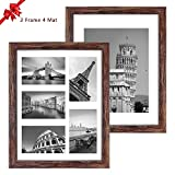 Q.Hou 11x14 Picture Frames Wood Patten Rustic Brown Set of 2, Each Frame with 2 Mats,Display 8x10 or Five 4x6 Photos with Mat & 11x14 Picture Without Mat for Wall Mount (QH-PF11X14-BR)