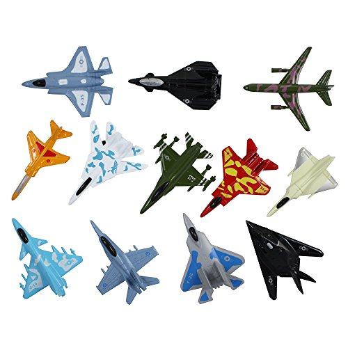 YMCtoys Airplane Toys Set of Die Cast Metal Military Themed  Fighter Jets for Kids, Boys or Girls - Great Gift, Party Favors or Cake Toppers