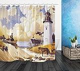 NNAYD1996 Estilo de Pintura Seaside Houses Lighthouse Carriage Impresión Digital a Prueba de Agua y Moho