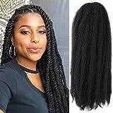 5 Packs Marley Twist Braiding Hair 18 Inch Long Afro Kinky Curly Marley Crochet Hair Kanekalon Synthetic Marley Braids Hair Extensions Marley Hair For Women(1B)