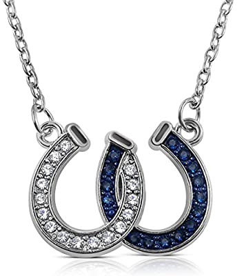 Glamour Girl Gifts Lucky Clear and Blue Crystals Double Horseshoes Silver Tone Necklace Fashion Jewelry