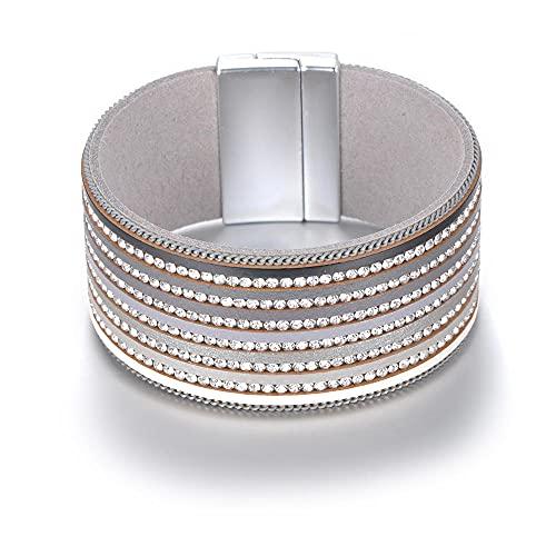 YFZCLYZAXET Pulseras Brazalete Joyería Mujer Pulseras De Cuero De Diamantes De Imitación Multicapa De Moda Hebilla Magnética Regalo De Mujer Gris