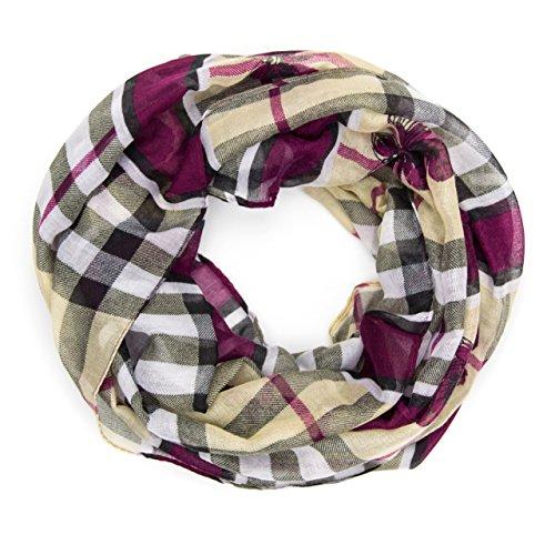 MANUMAR Loop-Schal für Damen | Hals-Tuch in lila mit Schmetterling Motiv als perfektes Herbst Winter Accessoire | Schlauchschal | Damen-Schal | Rundschal | Geschenkidee für Frauen und Mädchen