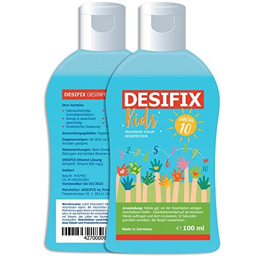DESIFIX KIDS Desinfektionsmittel für Kinder - Desinfektion für Hände und Haut I für Schulranzen Schulanfang - Handdesinfektion Flächendesinfektion 100ml