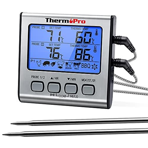 ThermoPro TP17 Digitales Grill-Thermometer Bratenthermometer Fleischthermometer Ofenthermometer mit Timer, Zwei Edelstahlsonden, Blaue Hinterbeleuchtung, Temperaturbereich bis...