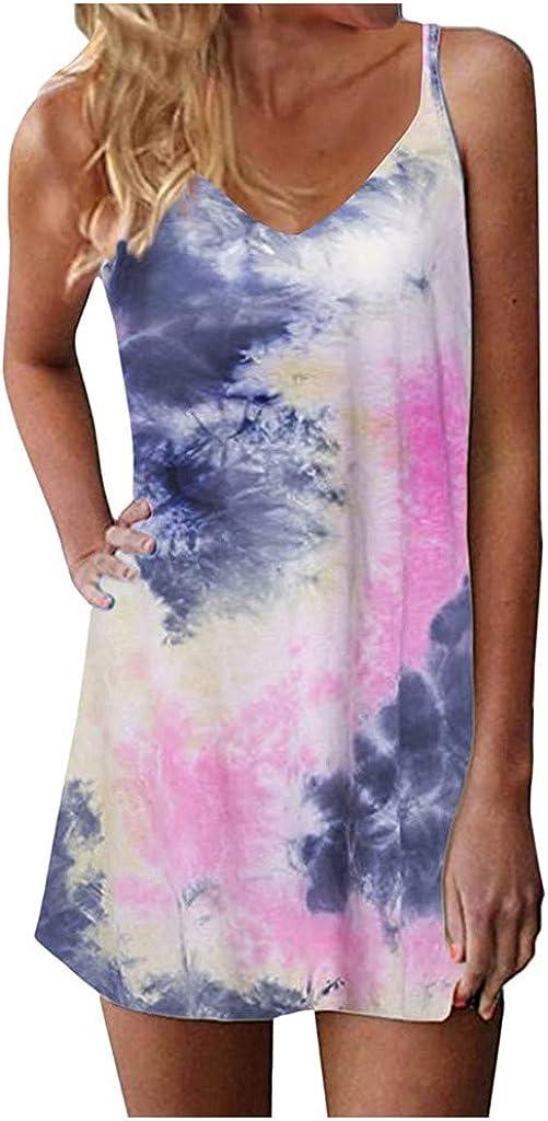 AODONG Dresses for Womens,Womens Summer Beach Dress Spaghetti Strap Boho Floral Backless Sundress Women
