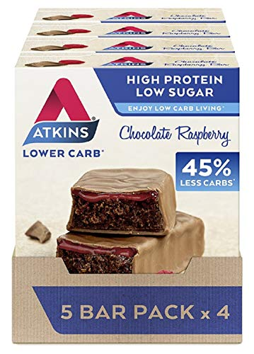 Atkins High Protein Bar, Keto Snack, Low Carb, Low Sugar Chocolate Raspberry Snack Bar, 5 Bar Box x 4 (20 Bars Total)