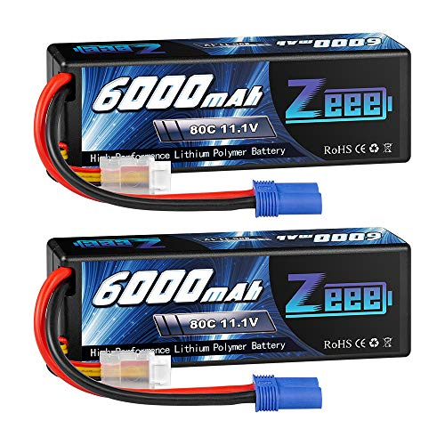 Zeee 11.1V 80C 3S 6000mAh Lipo Battery Hard Case Battery with EC5 Connector for RC 1/8 1/10 Scale Vehicles Car Trucks Boats(2 Pack)