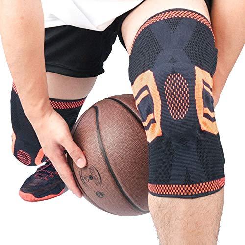 ZXlife @ Kniebandage, lang, kniebeschermer met veerhouder, compressiemouwen voor sporters met compressors, antislip en schokbestendig, goede drukprestaties, 1 paar M Oranje