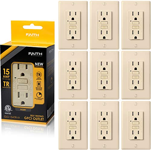 Faith 15A GFCI Outlet, Tamper-Resistant GFI Duplex Receptacles with LED Indicator, Self-Test Ground Fault Circuit Interrupter with Wall Plate, ETL Listed