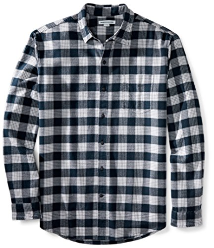 Amazon Essentials Herren-Flanellhemd, reguläre Passform, Langarm, kariert, Navy Plaid, US M (EU M)