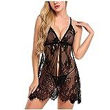 YSpoe Damen Dessous Sexy Lace Nachtkleid A02# Black Thong Set Nachtwäsche Nachthemd Backless Pyjamas Nachtwäsche (A02# Black, 6X-Large)
