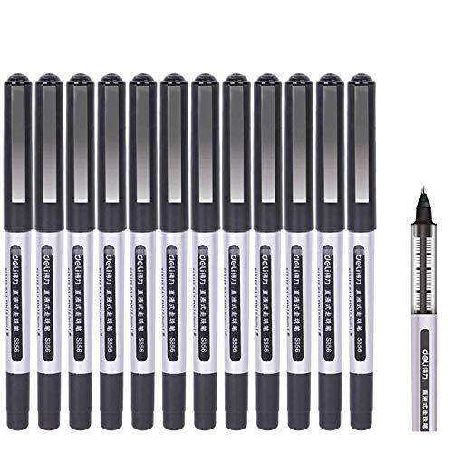 Penna a Sfera, GXR Penna Roller a Inchiostro Nera Punta Extra Fine 0.5mm ad Inchiostro ad Asciugatura rapida (12 Pezzi/Nero)