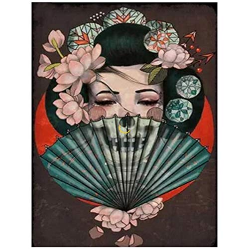 Xojbid Horror Skull Mujer Japonesa DIY Diamante Bordado Pintura Diamante 5d Imagen Piedra decoración de la Pared Hecho a Mano Cuadrado Diamante decoración del hogar 40x50cm