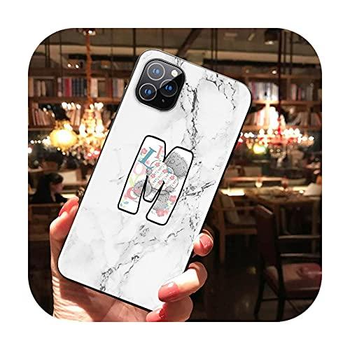 Alfabeto lindo oso mármol para iPhone 12 11 Pro Max mini XS Max XR X 8 7 6 6S Plus 5S SE 2020 suave negro teléfono caso caso estilo 13-para iPhone XS MAX