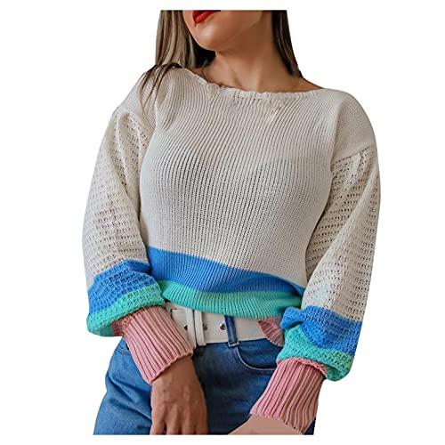 SHIZUANYUE - Sudadera de manga larga para mujer, cuello redondo, blusa, jersey, jersey de punto extragrande, ligera, de punto, cómoda, informal, caqui, L