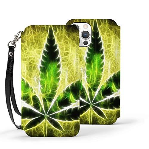 Ip12pro Max-6.7 - Funda de piel con tapa para teléfono móvil, a prueba de golpes, plantas de marihuana, color amarillo brillante protector con ranura para tarjeta