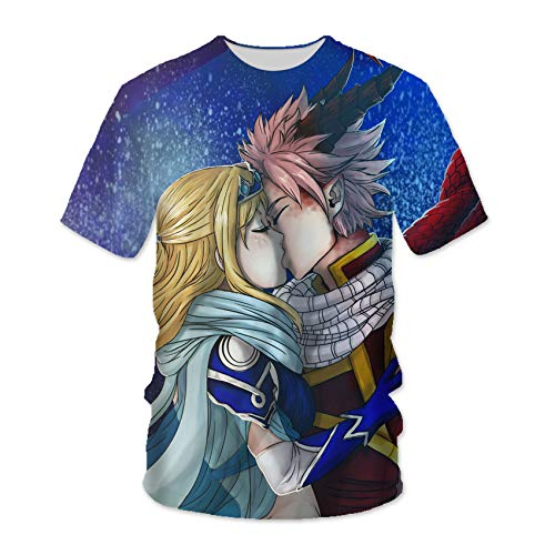 Fairy Tail T-Shirt Natsu Dragneel Lucy Heartfilia 3D-gedrucktes Anime-Muster-T-Shirt Unisex-Short Sleeve Cosplay Rundhalsausschnitt Tops Sweatshirts, Für Die Tägliche Casual / Party -YW(Size:5X-Large)