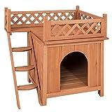 Casetas para Perros Casa del animal doméstico del perro, el perro de habitaciones de madera, levantada Vent y balcón...