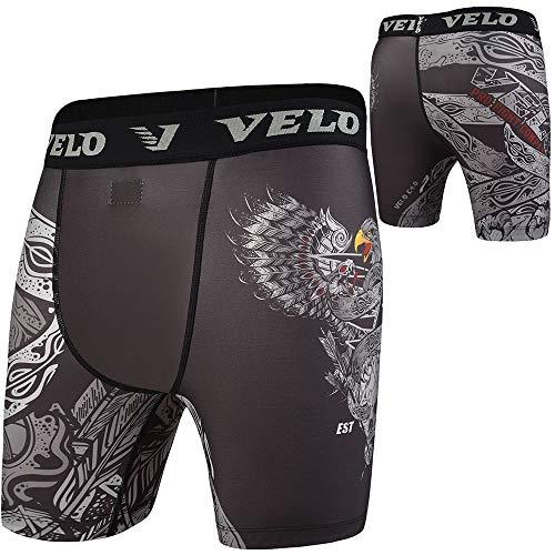 VELO Compression Shorts MMA Tudo Rash Guard Vale Fitness Training (Black Charcoal, M)