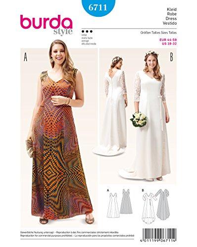 Burda 6711 Schnittmuster Abendkleid Brautkleid mit Spitzenärmeln (Damen, Gr. 44 - 58) Level 3 mittel