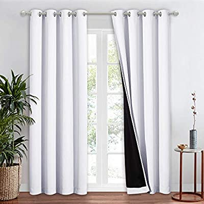 NICETOWN 100% Blackout Window Curtain Panel, Heat and Full Light Blocking Drape with Black Liner for Nursery, 84 inches Drop Thermal Insulated Draperies (White, 1 Piece, 52 inches Wide Each Panel)