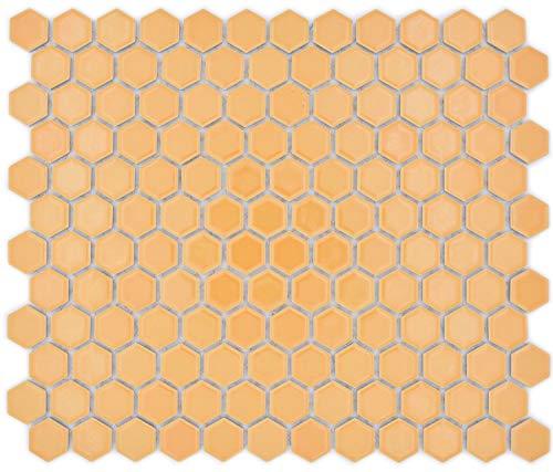 Mosaikfliese Hexagon Sechseck ockerorange glänzend Fliesenspiegel Wandverkleidung Thekenverkleidung Wandfliese Wandverkleidung Duschwand Küche Küchenfliese Thekenverkleidung WC Badfliese