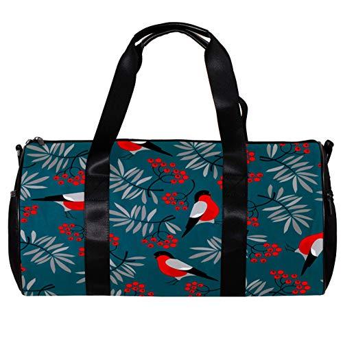 Bolsa de lona para mujer y hombres, Bullfinch pájaros con hojas de fresno, bayas rojas, deportes gimnasio bolsa de mano fin de semana para pasar la noche bolsa de equipaje al aire libre