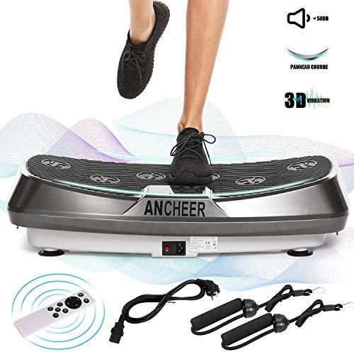 Ancheer Plataforma Vibratoria Fitness 3D Vibration | Gran Superficie Antideslizante Curvada | 2 Bandas Elásticas de Entrenamiento | Pantalla LCD