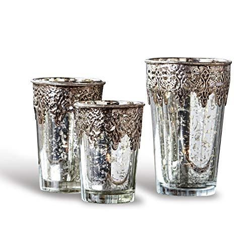 Loberon Windlicht 3er Set Laurinda, Glas, Eisen, H/B/T/Ø ca. 14/9 / 9/9 cm, klar/Silber