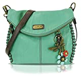 Chala Charming Crossbody Bag With Flap Top | Flap and Zipper Cross-Body Purse or Shoulder Handbag with Metal Chain - Teal - Dragonfly