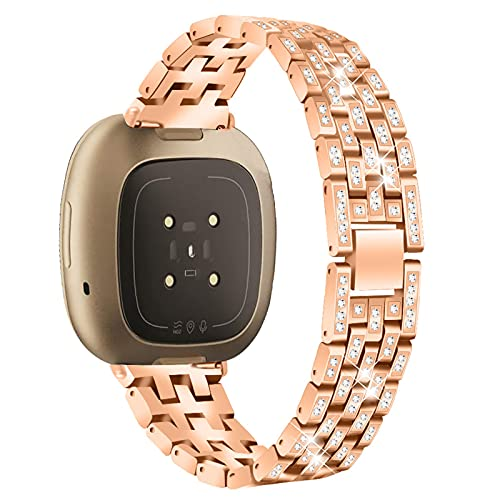 XIALEY Correas De Repuesto para Mujer Compatible con Fitbit Versa 3 / Sense, Bling Band Correa De Reloj Pulsera De Metal De Acero Inoxidable Compatible con Versa 3 / Sense,Rose Gold