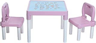 Toddler Table and 2 Chair Set, Interesting English Alphabet Table - Plastic Childrens Table and Chairs Set Preschool, Bedroom, Playroom, Home for Boys & Girls (Table 20x20x17.31inch, Pink)