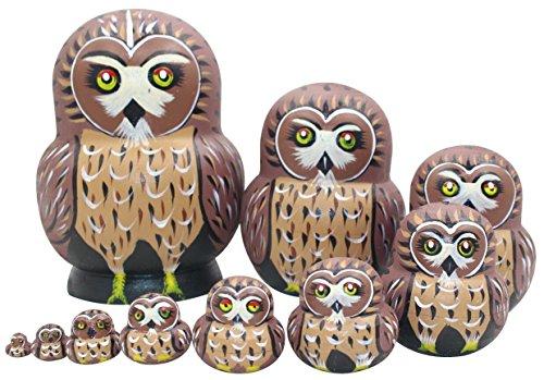 Winterworm - Juego de 10 muñecas de Madera con diseño de búho, Hechas a Mano