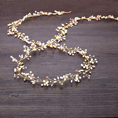 Ownlife Diademas para el cabello de boda, accesorios de joyería para mujer, perlas de cristal, diademas para novia, hechas a mano, decoración de la cabeza de 50 cm (color oro)