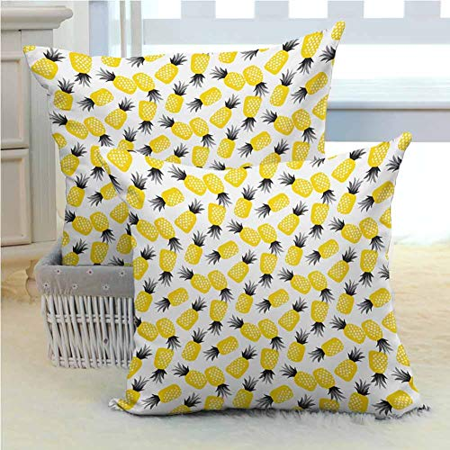 Mannwarehouse Pineapple Bed Pillows Cover Star Patterned Arrangement of Exotic Fruits with Greyscale Leaves Comfy and Lovely for Couch/Bed/Sofa 2PCS - W22 x L22 inch Black Grey and Yellow
