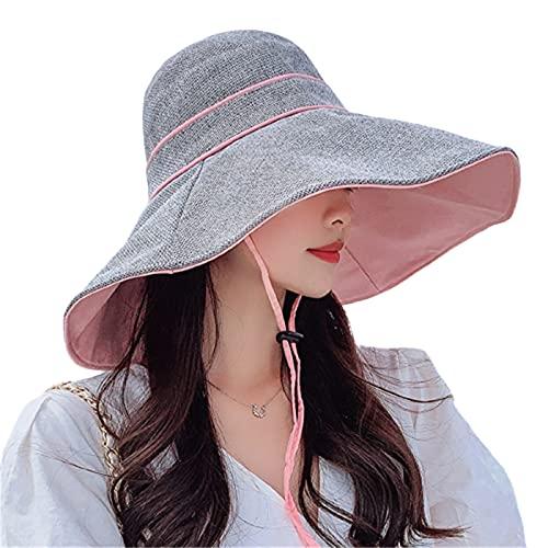 KFGF Cappello da sole estivo, da donna, versione coreana, con grande tesa per coprire il viso, protezione solare, rosa + grigio., 54/58 cm