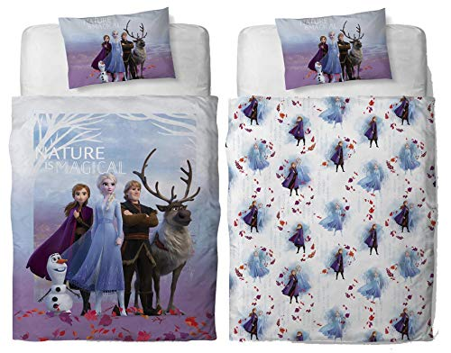 Disney Frozen 2 Magical Single Polycotton Duvet Cover | Officially Licensed Reversible Bedding Olaf, Anna, Elsa, Kristoff and Sven Design with Matching Pillowcase