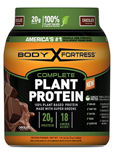 Body Fortress Vegan Plant Based Hemp and Pea Protein Powder, Gluten Free, Chocolate, With Vitamin D and Zinc to Support Immune Health, 1.51 lbs