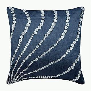 Handmade Slate Blue Cushions Cover, Modern Cushion Cases, 30x30 cm (12x12 inch) Cushions Cover, Art Silk Square Throw Cush...