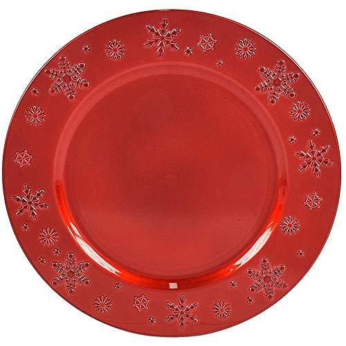12 Sottopiatti Bordo Fiocchi di Neve Rosso in plastica Rigida Bordo Liscio Tondo 33 cm Natale cenone sotto Piatto Natalizio Capodanno Natale Cena Aperitivo